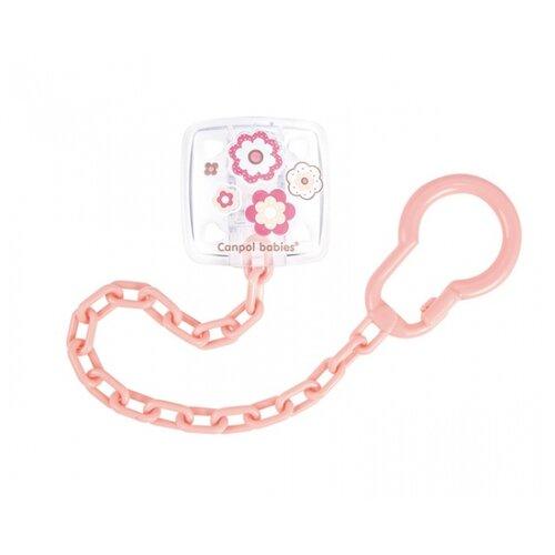 Купить Держатель пустышки Canpol Babies Newborn Baby 0 м (1 шт.) розовый, Пустышки и аксессуары