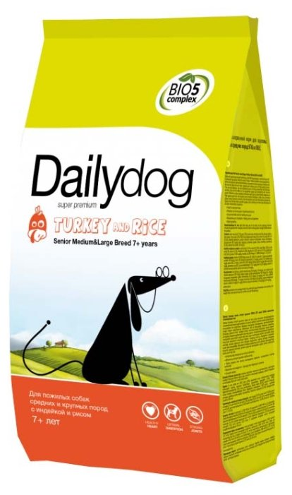 Корм для собак Dailydog Senior Medium Large Breed Turkey and Rice