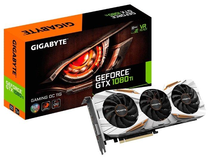 GIGABYTE Видеокарта GIGABYTE GeForce GTX 1080 Ti 1544MHz PCI-E 3.0 11264MB 11010MHz 352 bit DVI HDMI HDCP Gaming OC