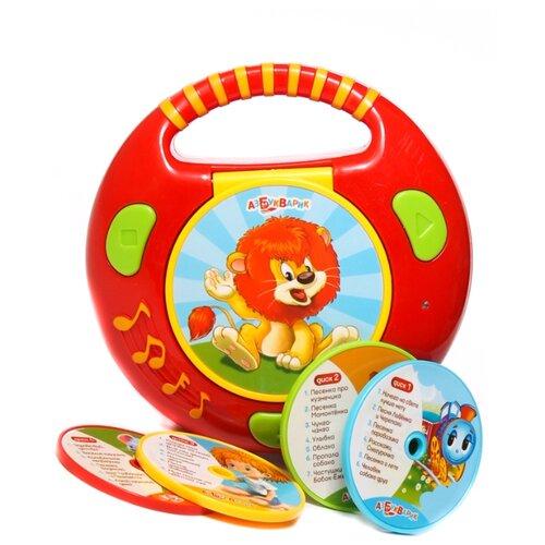 Интерактивная развивающая игрушка Азбукварик CD-плеер с огоньками Песенки из мультиков красный