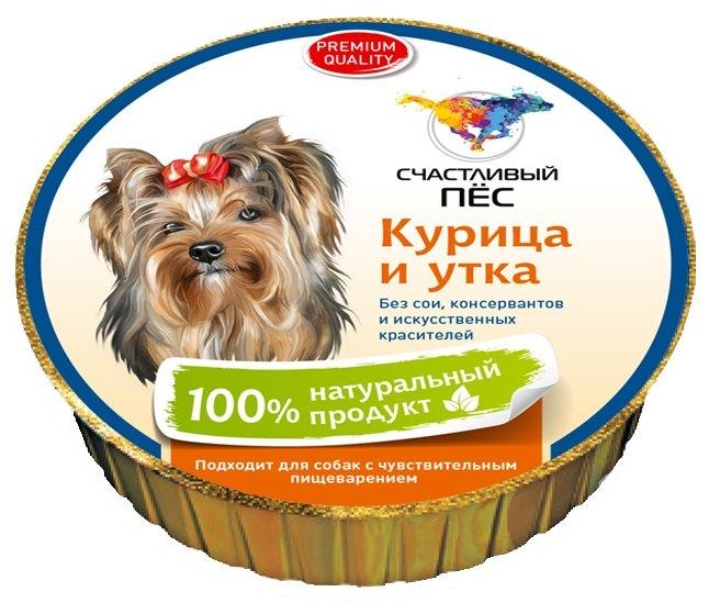 Корм для собак Счастливый пёс Паштет - Курица и утка