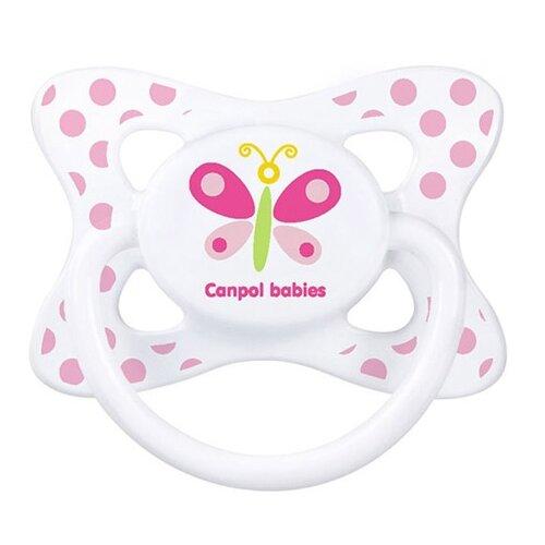 Купить Пустышка силиконовая анатомическая Canpol Babies Summertime 0-6 м (1 шт) белый/бабочка, Пустышки и аксессуары