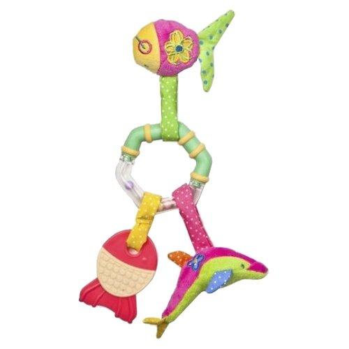 Купить Прорезыватель-погремушка Жирафики Рыбки 93545 розовый/салатовый/желтый, Погремушки и прорезыватели