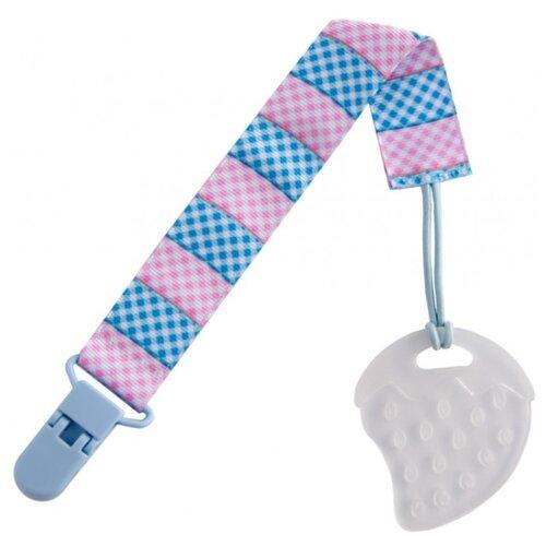 Прорезыватель ROXY-KIDS Клубничка на держателе голубой/розовый/клеточка