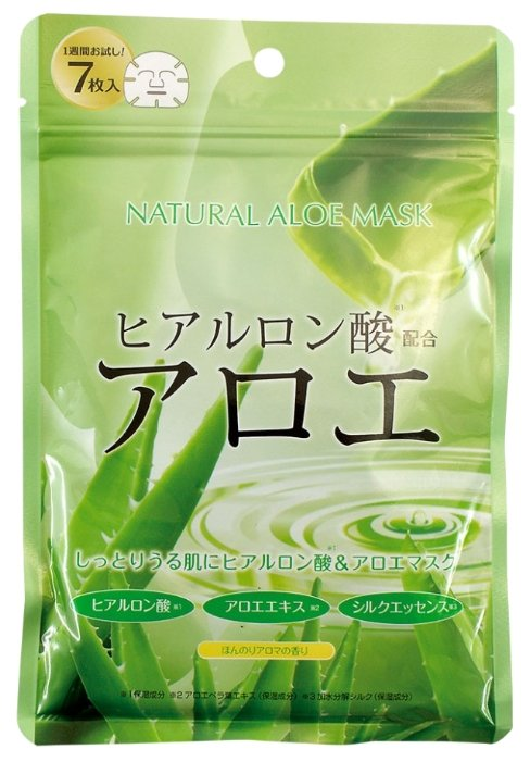 Japan Gals натуральная маска с экстрактом алоэ