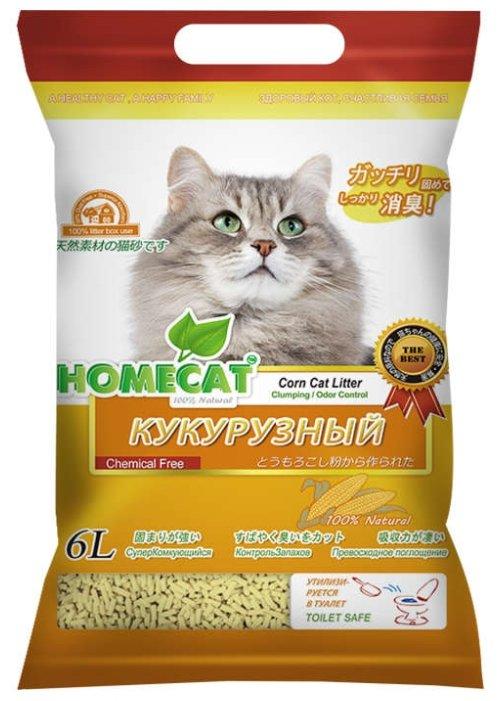 Комкующийся наполнитель Homecat Эколайн Кукурузный 6 л