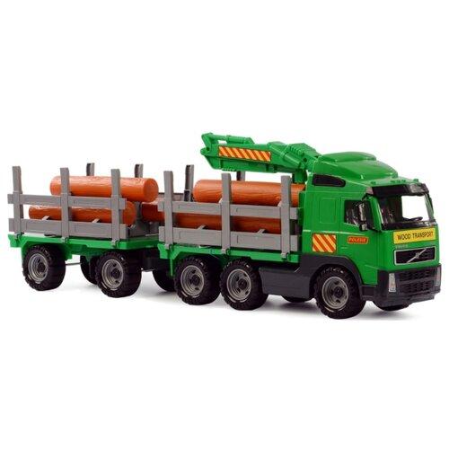 Купить Лесовоз Полесье с прицепом Volvo (8725) 77.5 см зеленый, Машинки и техника