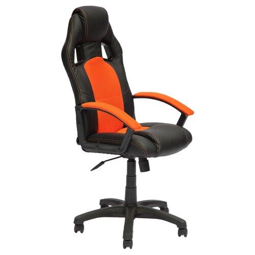 Компьютерное кресло TetChair Драйвер игровое, обивка: текстиль/искусственная кожа, цвет: черный/оранжевый компьютерное кресло tetchair runner игровое обивка текстиль искусственная кожа цвет черный желтый