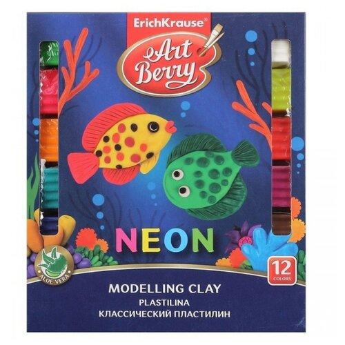 Купить Пластилин ErichKrause Artberry с Алоэ Вера Neon 12 цветов/216г (41767), Пластилин и масса для лепки
