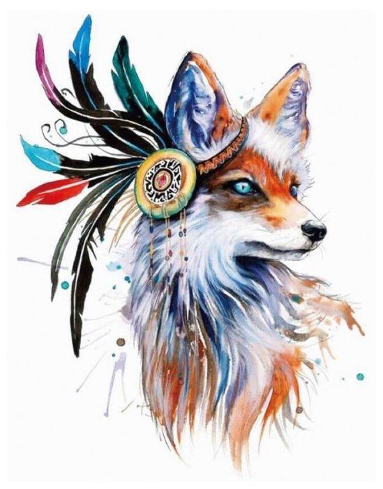 Цветной Набор алмазной вышивки Лиса-индеец (LGP002) 40х50 см