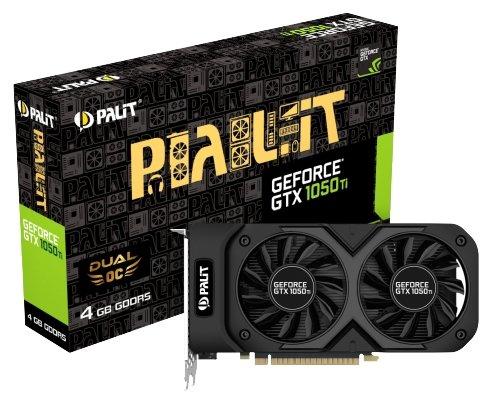 Palit Видеокарта Palit GeForce GTX 1050 Ti 1366Mhz PCI-E 3.0 4096Mb 7000Mhz 128 bit DVI HDMI HDCP Dual OC