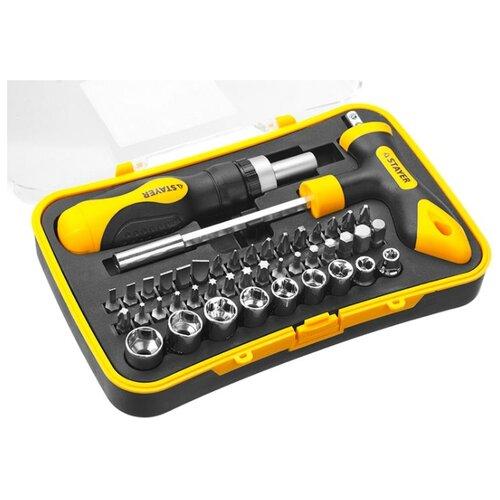 Набор бит и торцевых головок STAYER (43 предм.) 25084-H43 черный/желтый набор бит stayer 100шт 2604 h100