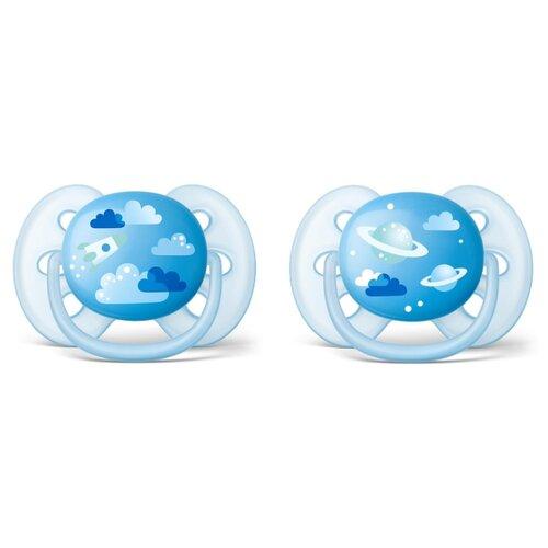 Пустышка силиконовая ортодонтическая Philips AVENT Ultra Soft SCF222/22 6-18 м (2 шт.) голубой