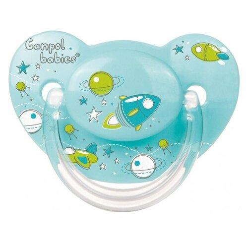 Купить Пустышка силиконовая ортодонтическая Canpol Babies Machines 6-18 м (1 шт.) бирюзовый, Пустышки и аксессуары