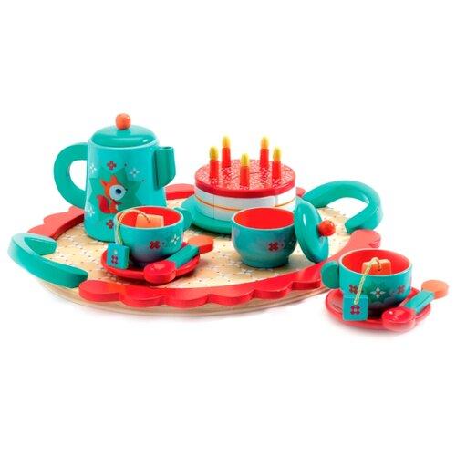 Набор продуктов с посудой DJECO Чаепитие у Лисички 06633 голубой/красный
