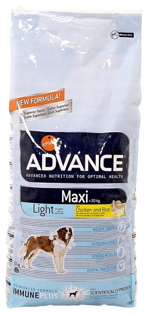 Корм для собак Advance Maxi Light Adult курица и рис