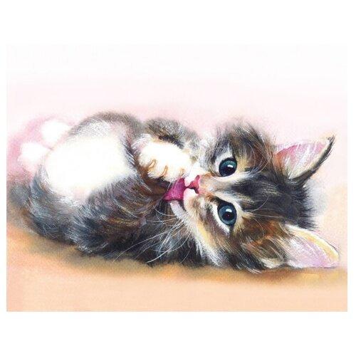 Цветной Набор алмазной вышивки Милый котенок (LG011) 40х50 смАлмазная вышивка<br>