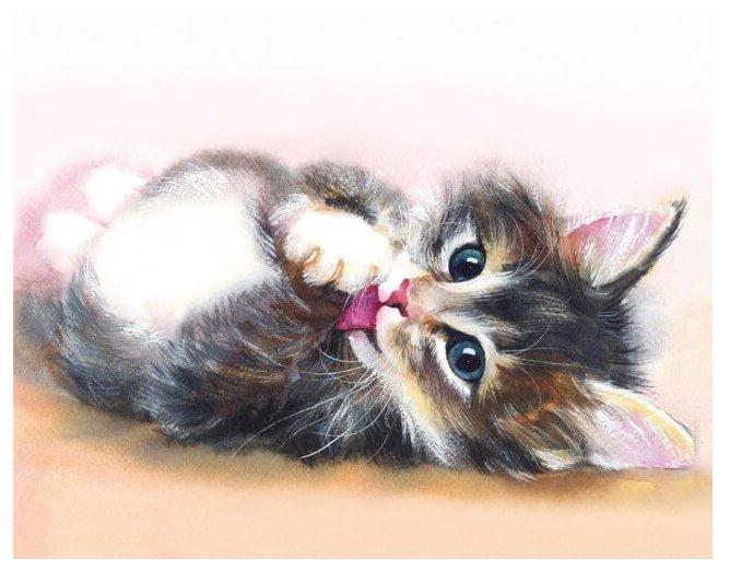 Цветной Набор алмазной вышивки Милый котенок (LG011) 40х50 см