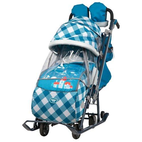 Санки-коляска Nika Ника детям 7-4 (НД 7-4) капри в клетку