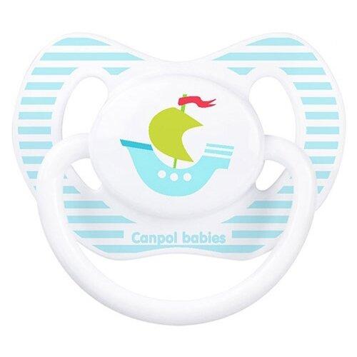 Купить Пустышка силиконовая ортодонтическая Canpol Babies Summertime 0-6 м (1 шт.) белый/кораблик, Пустышки и аксессуары