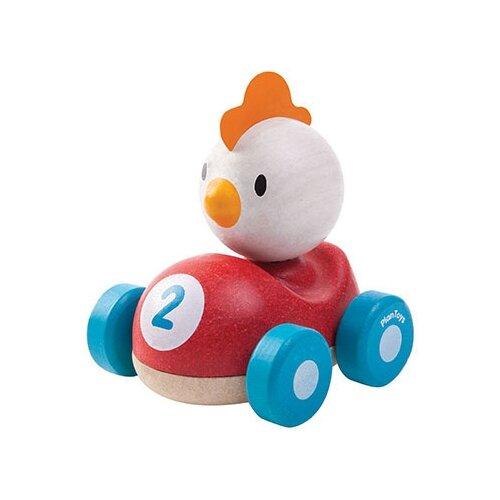 Купить Каталка-игрушка PlanToys Chicken Racer (5679) красный/белый/голубой, Каталки и качалки