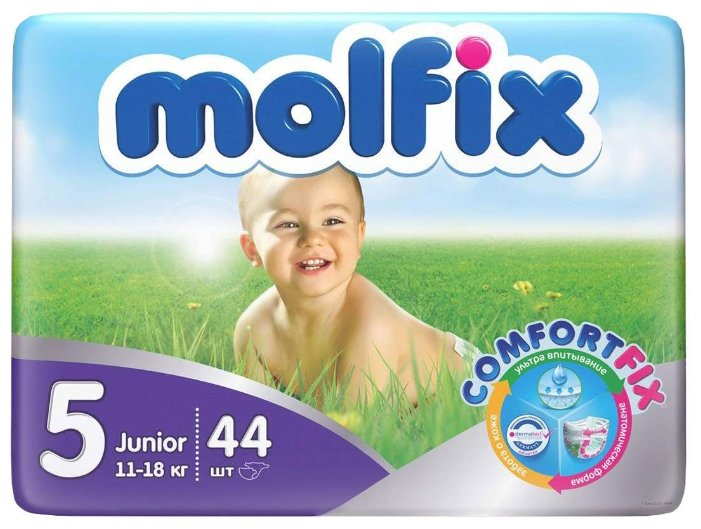 45fa8f0d89ae Купить Molfix подгузники ComfortFix 5 (11-18 кг) 44 шт. по выгодной цене на  Яндекс.Маркете