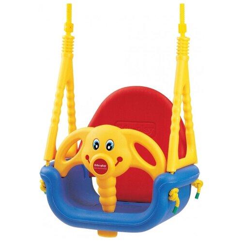 Купить Edu-play Детские качели подвесные Слоненок Джамбо синий/красный/желтый, Качели