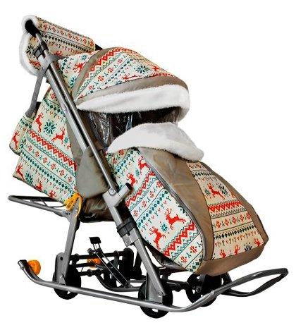 Санки-коляска Galaxy kids 1 (Олени на коричн) Скандинавская ночь