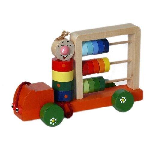 Каталка-игрушка Крона Автомобиль Палитра (163-002) красный/зеленый/синий недорого