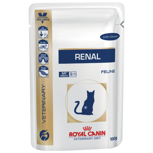 Royal Canin Renal Feline with Chicken pauch (0.1 кг) 12 шт. Лечебные корма