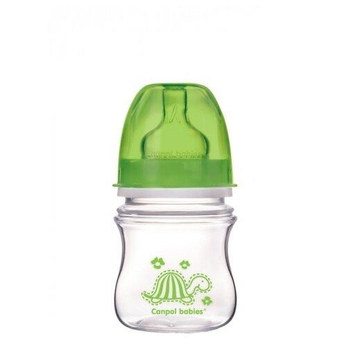 Canpol Babies Бутылочка антиколиковая с широким горлом 120 мл Яркие зверушки с 3 мес., зеленый