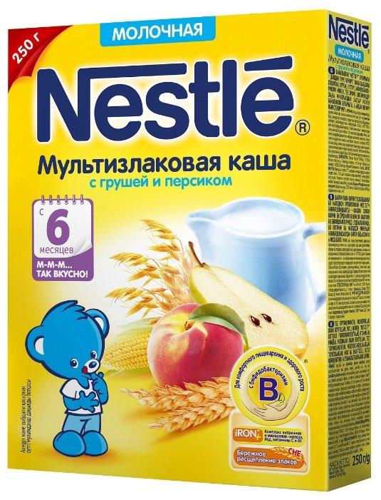 Каша Nestlé молочная мультизлаковая с грушей и персиком (с 6 месяцев) 250 г