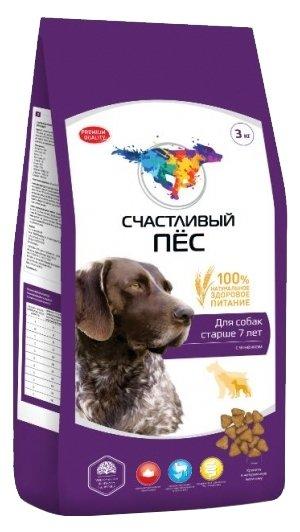 Корм для собак Счастливый пёс Сухой корм для собак старше 7 лет с ягненком