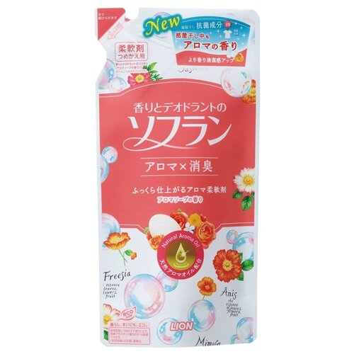 Кондиционер для белья Aroma Natural с натуральным ароматом цветочного мыла Lion 0.48 л пакет