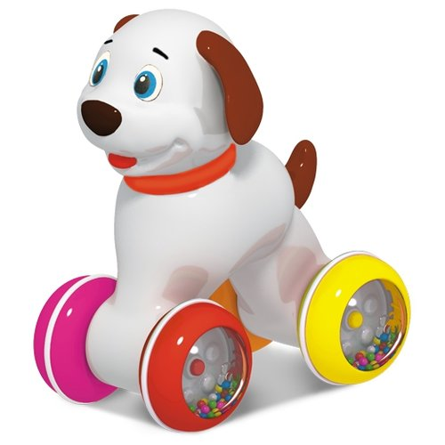 Каталка-игрушка Stellar Собачка (01394) со звуковыми эффектами белый