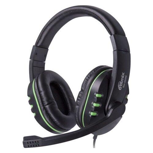 Компьютерная гарнитура Ritmix RH-555M черный/зеленый