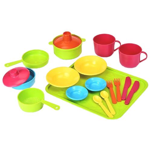 Фото - Набор посуды Росигрушка Сели поели Р85365 желтый/зеленый/красный набор посуды тигрес ромашка 39121 красный желтый зеленый синий