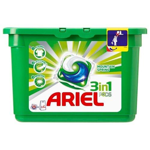 Капсулы Ariel PODS 3-в-1 Горный родник 15 шт. пластиковый контейнерКапсулы, таблетки, пластины<br>