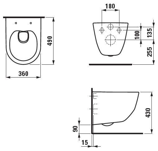 Чаша унитаза подвесная LAUFEN Pro 8.2096.6.000.000.1 с горизонтальным выпуском