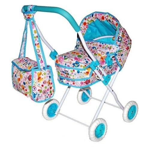 Купить Коляска-люлька Mary Poppins Фантазия с сумкой 67315 голубой, Коляски для кукол