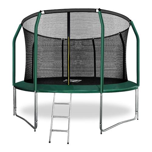 Фото - Батут премиум с внутренней сеткой и лестницей ARLAND 12FT (Dark Green) каркасный батут arland премиум 16ft с внутренней страховочной сеткой и лестницей dark green
