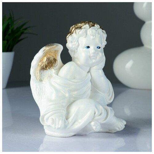 Фигура Ангел сидя перламутр 18х14х12см фигура ангел карапуз сидя состаренный 19х22х24см 1659374