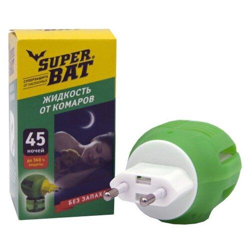 Комплект SuperBAT: Электрофумигатор + Жидкость от комаров флакон на 45 ночей, 30 мл