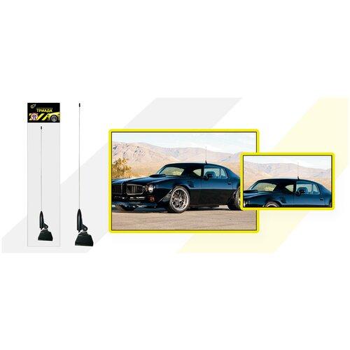 Автомобильная радиоантенна на желобок/водосток Триада-АН 73. Пруток прямой 60 см черный.