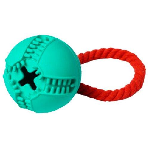 Игрушка для собак Homepet Silver Series мяч для лакомств с канатом каучук бирюзовый 7,6 х 8,2 см (1 шт)
