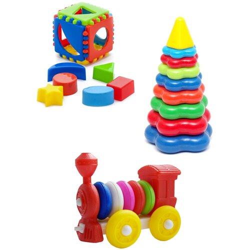 Купить Набор развивающий Игрушка Кубик логический малый + Пирамида детская большая + Конструктор-каталка Паровозик , КАРОЛИНА ТОЙЗ, Karolina toys, Развитие мелкой моторики