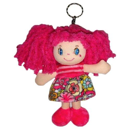 Игрушка-брелок ABtoys Кукла с розовыми волосами в розовом платье 15 см