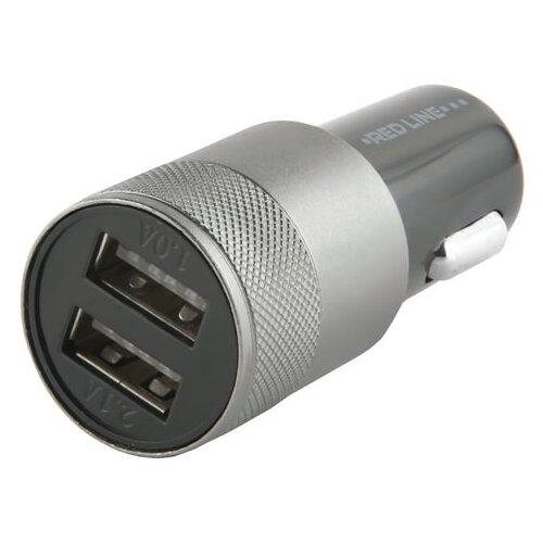 Зарядное устройство автомобильное, RED LINE C20, кабель для IPhone (iPad) 1м, 2 порта USB, выходной ток 2,1 А, черное, УТ000012248