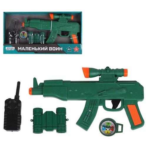 Купить Игрушечное оружие детское ТМ КОМПАНИЯ ДРУЗЕЙ , Серия Маленький воин , Набор Полиция со звуком, на батарейках, игровой набор, игрушечный автомат с пицелом, игрушечная рация, игрушечный бинокль, игрушечный компас, набор для игры в полицейского, для детей, для мальчиков, зеленый, в/к 38*4, 5*20, 5 см, Компания Друзей, Игрушечное оружие и бластеры