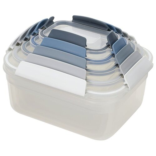 Joseph Joseph Набор контейнеров для хранения продуктов Nest Lock 81081/81105, белый/серый/синий joseph joseph набор мельниц для соли и перца milltop 95036 серый